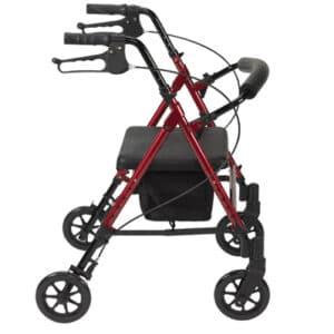 Red R8 Rollator With Height Adjustable Seat