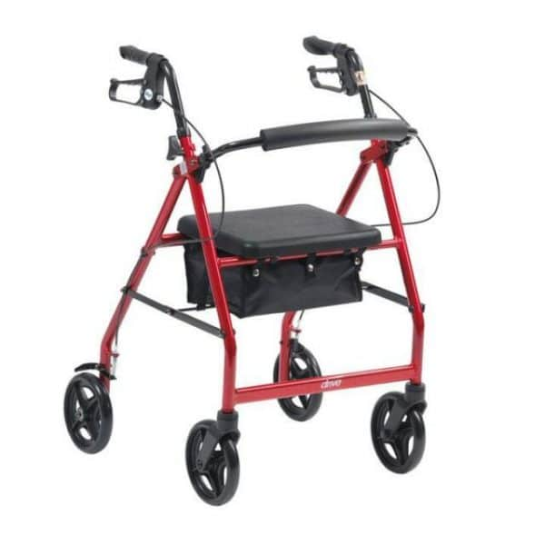 Red rollator with a basket area under it's seat
