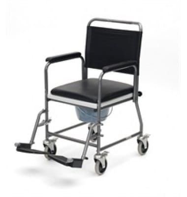 Wheeled commode - dark metal frame with black seat