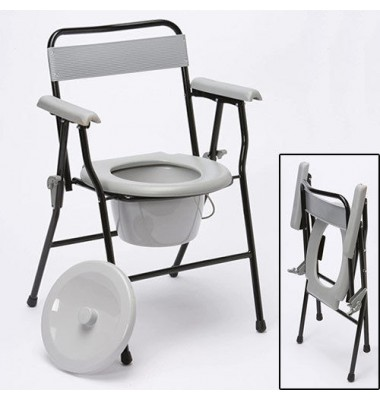 Folding commode chair with black steel frame and gray armrests