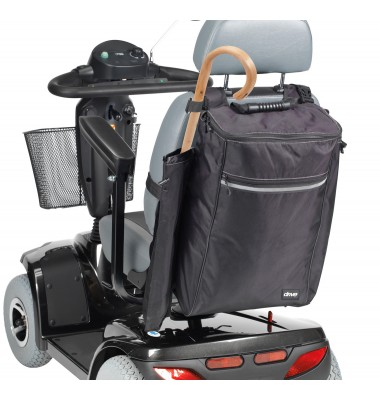 Mobility scooter showing backpack accessories