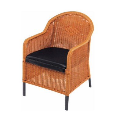 Wicker commode chair with black cushion seat