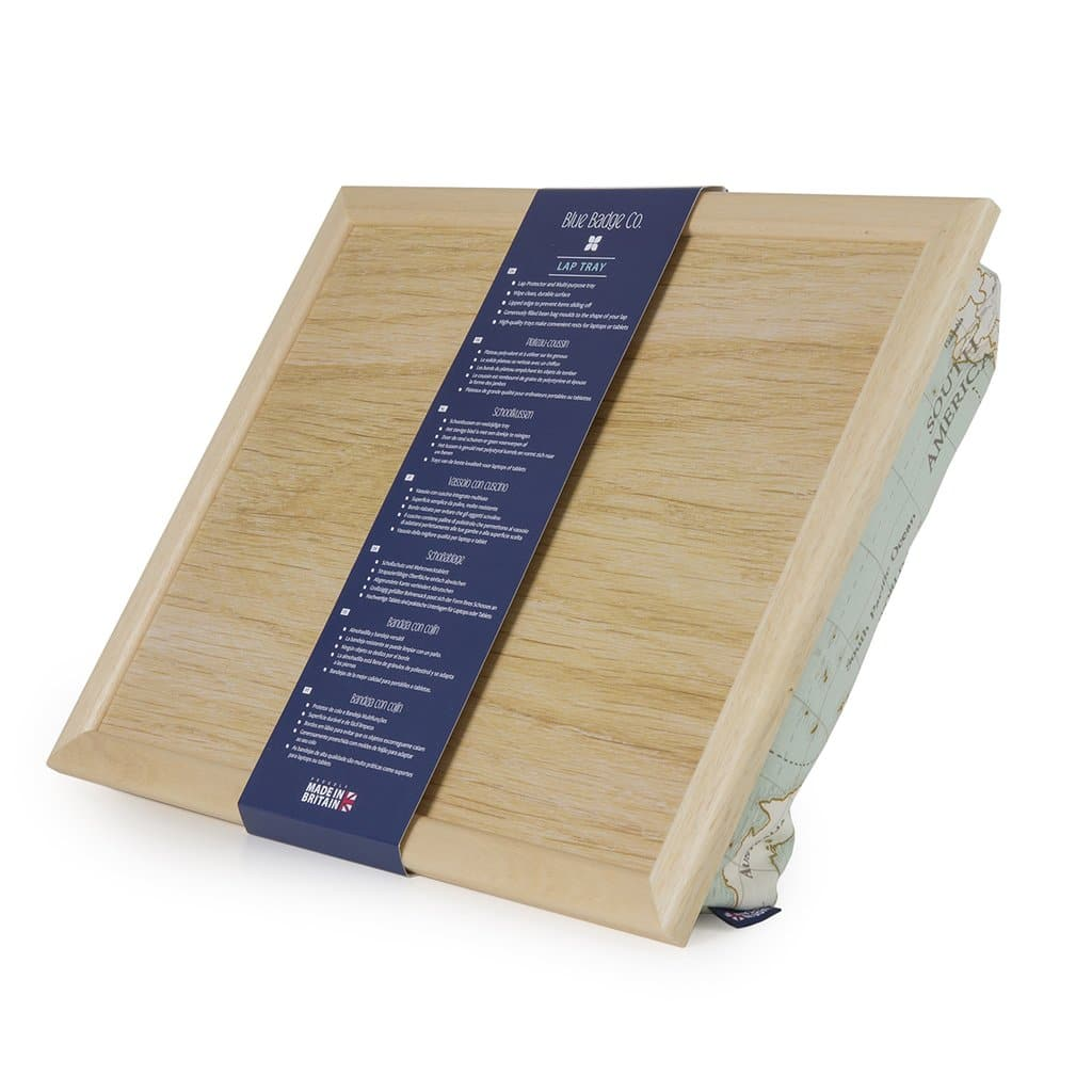 Blue Badge Co Lap Tray World Map Wood Top