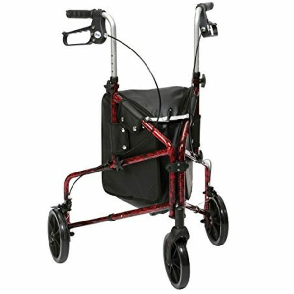 Drive DeVilbiss Ultra Lightweight Tri Walker With Bag Red Flame