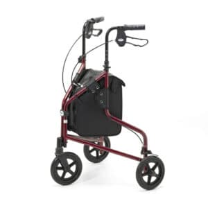 Days Healthcare Lightweight Tri Walker With Bag - Red