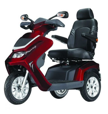 red 3 wheel 8 mph mobility scooter facing left on a white background