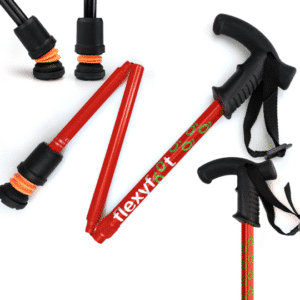 Flexyfoot Folding Cane - Red - Derby Handle