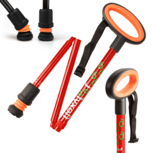 Flexyfoot Folding Cane - Red - Oval Handle