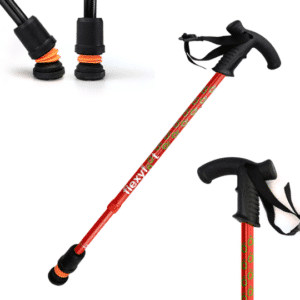 Flexyfoot Telescopic Cane - Red - Derby Handle