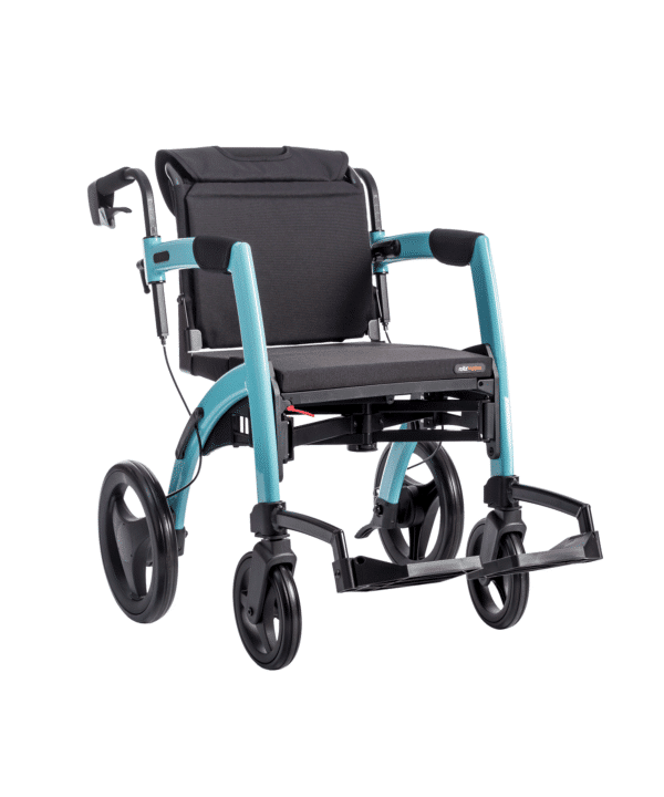 Transit wheelchair with black seats, black wheels and a pale blue chassis.