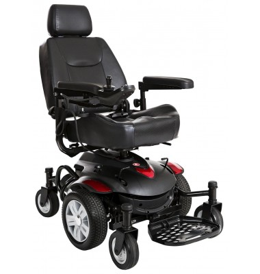 black power chair - electric wheelchair with red accents on a white background