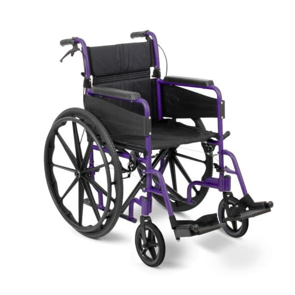 Self propelled wheelchair with a black seat and purple tubing frame