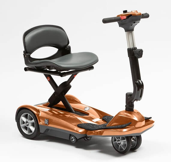 Travel scooter finished in a bronze colour on a white background