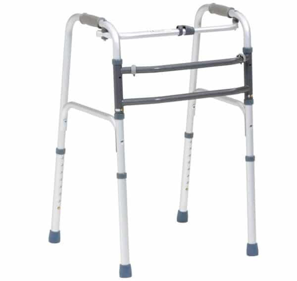 Walking frame with rubber feet on a white background