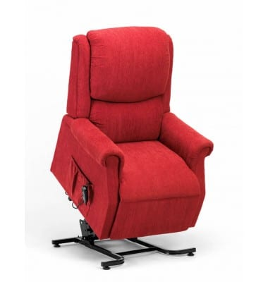 Red riser recliner chair tilted forward on a white background.