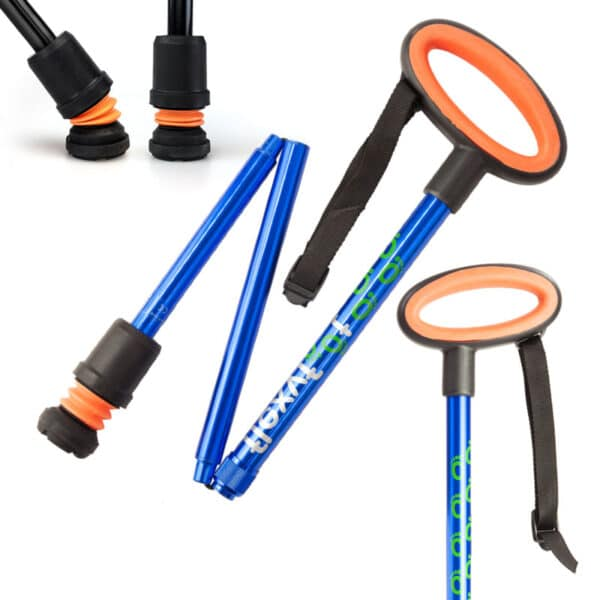 Flexy foot walking cane finished with a blue shaft an orange handle on a white background